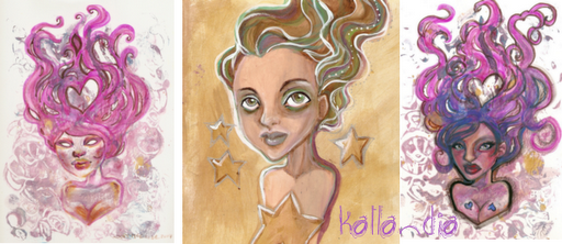 Star Girl and Heary Girls monotype and mixed media art by KatCanPaint