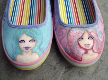 Hand Painted Canvas Shoes by KatCanPaint