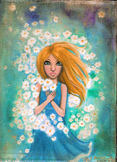 Cloud of Chamomile original mixed media painting by KatCanPaint
