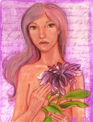Dahlia painting by KatCanPaint