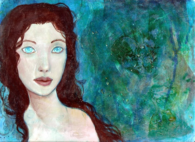 Blue Eyes original acrylic painting by KatCanPaint
