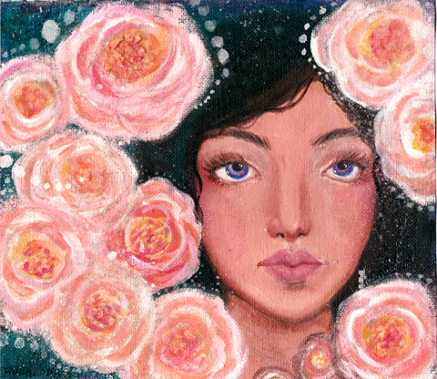 face study with peonies by KatCanPaint
