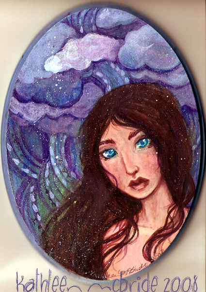 Cloud Cover beautiful girl painting by KatCanPaint
