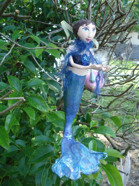 mermaid gourd art doll by KatCanPaint