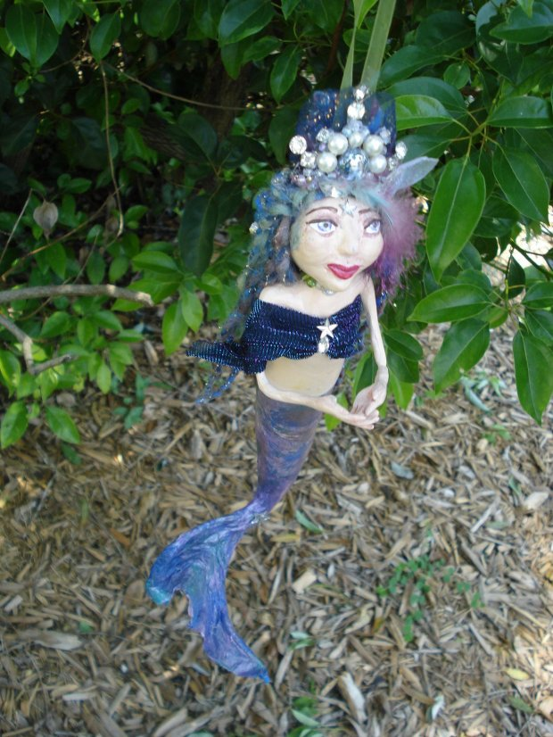 gypsy queen art doll mermaid gourd ornament by KatCanPaint