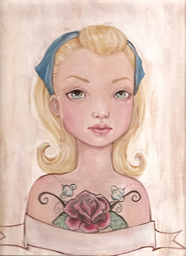 Doll Face retro tattoo doll painting by KatCanPaint