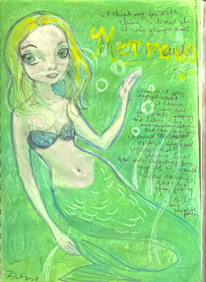 Art Journal page 14 green mermaid by KatCanPaint