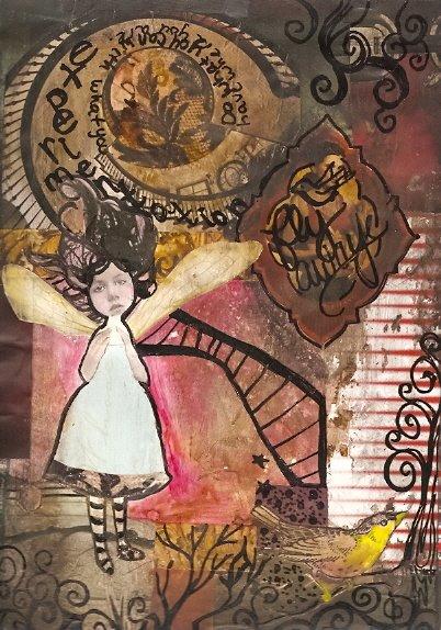 Mixed media art journal page wonderland by KatCanPaint