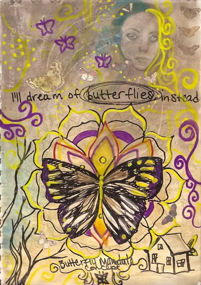 Art journal page 4 butterflies by KatCanPaint