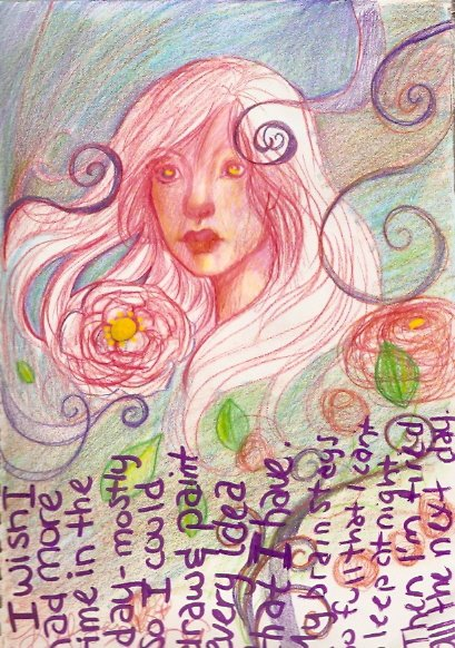 Art Journal Page 5 flower girl by KatCanPaint