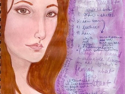 Art journal face study by KatCanPaint