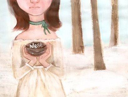 art journal page 8 nest by KatCanPaint