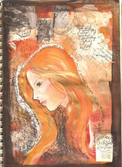 art journal page 13 orange by KatCanPaint