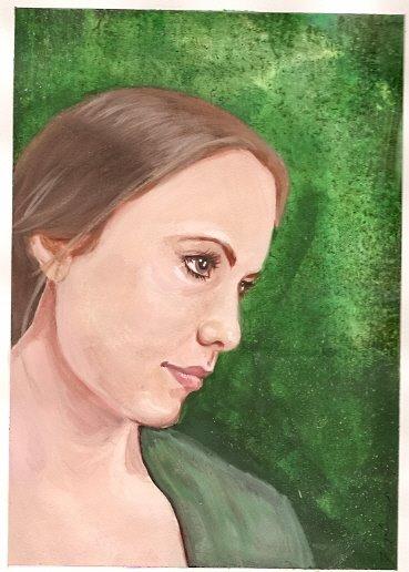 Custom Portrait painting sister by KatCanPaint