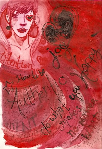 Art Journal page 16 red by KatCanPaint