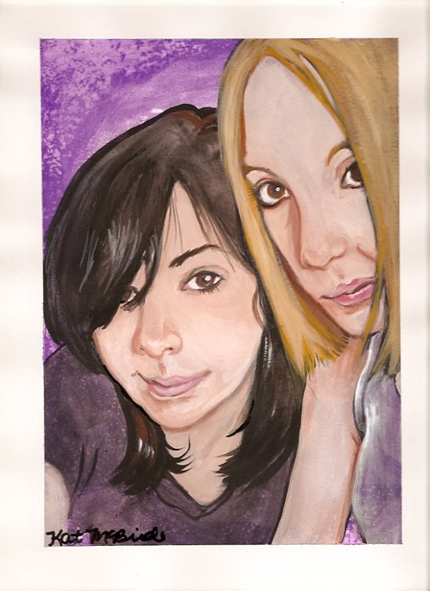 Custom Best Friends BFF Portrait Painting by KatCanPaint