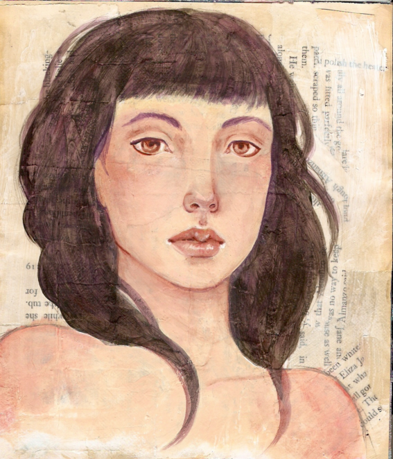 face study on book page collage by KatCanPaint
