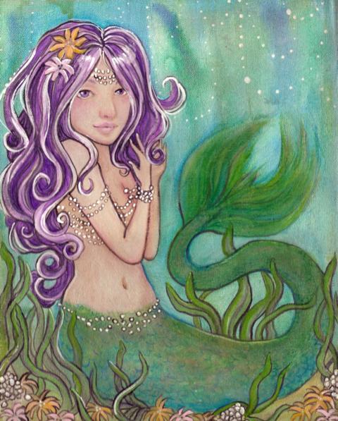 Storybook Mermaid original painting by KatCanPaint