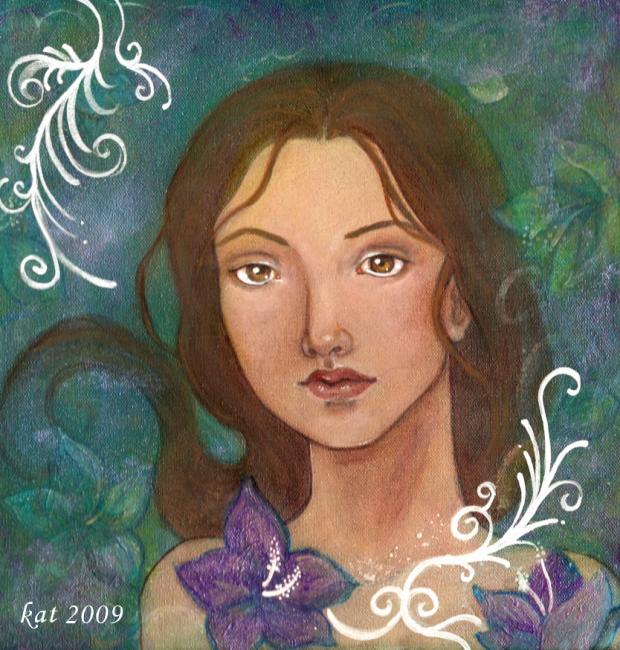 Blue Hawaiian painting by KatCanPaint