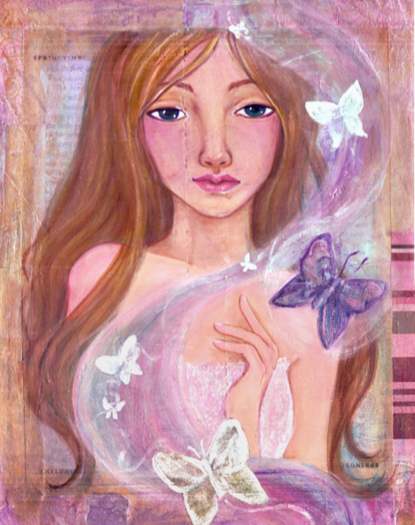 Springtime mixed media original painting by KatCanPaint