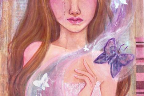 Springtime mixed media original painting by KatCanPaint