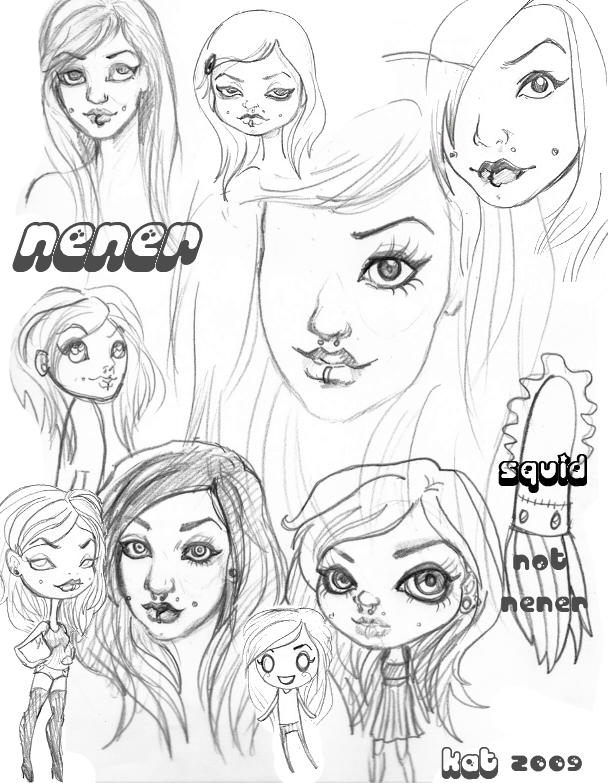Sketches of Selena by KatCanPaint
