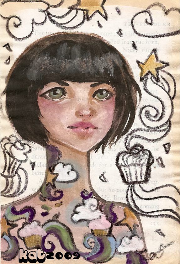painted girl with cupcake tattoo