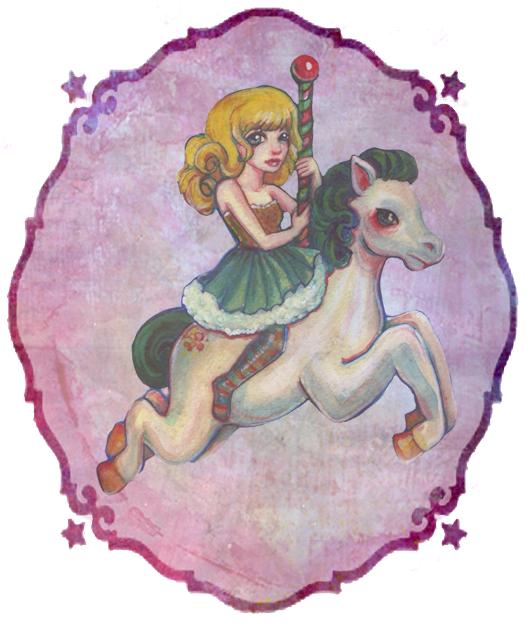 Rainbow Carousel Horse painting by KatCanPaint