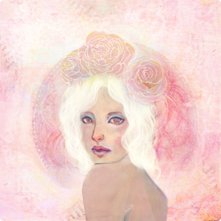 Rose Halo digital painting and collage by KatCanPaint