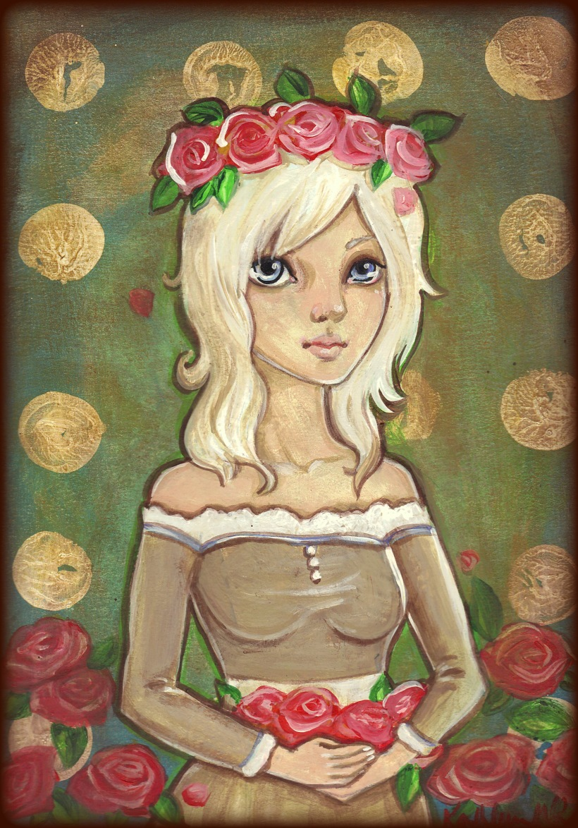 Flower Girl original acrylic painting by KatCanPaint