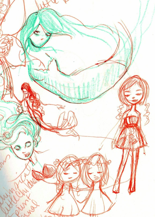 Mermaids and Dolls : Sketchbook page