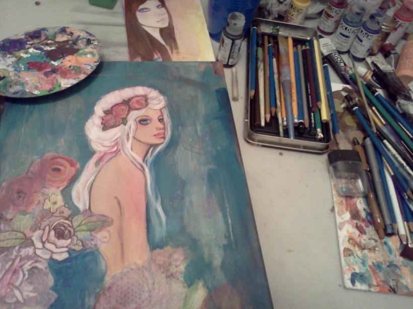 art nouveau inspired girl by KatCanPaint