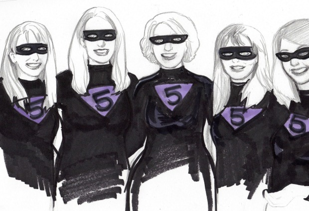 Five Superhero Friends sketch by KatCanPaint
