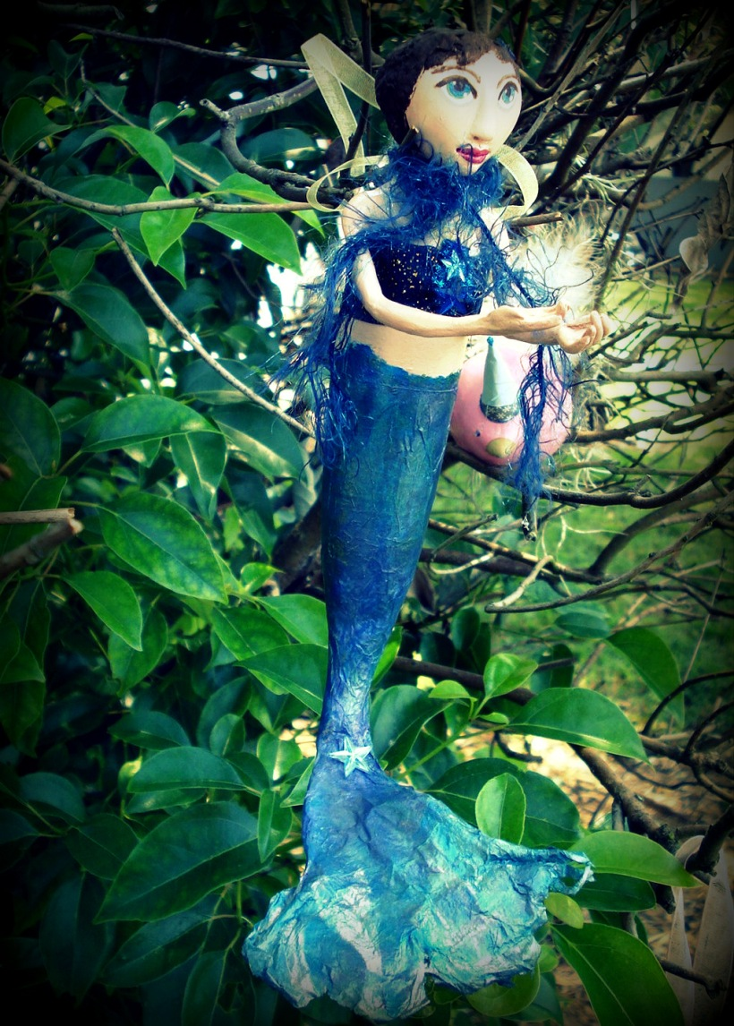 mermaid gourd with tissue paper tail