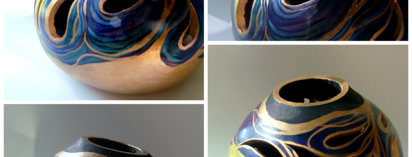 gourd art gourd bowl gold blue black