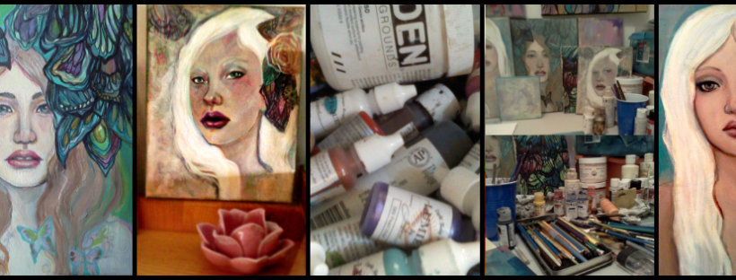 A collage of paintings from June 2012 by KatCanPaint
