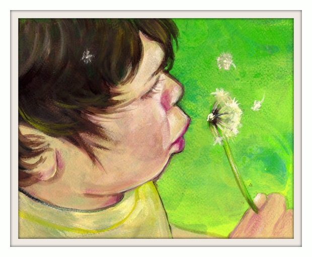 Custom Child portrait acrylic painting by KatCanPaint
