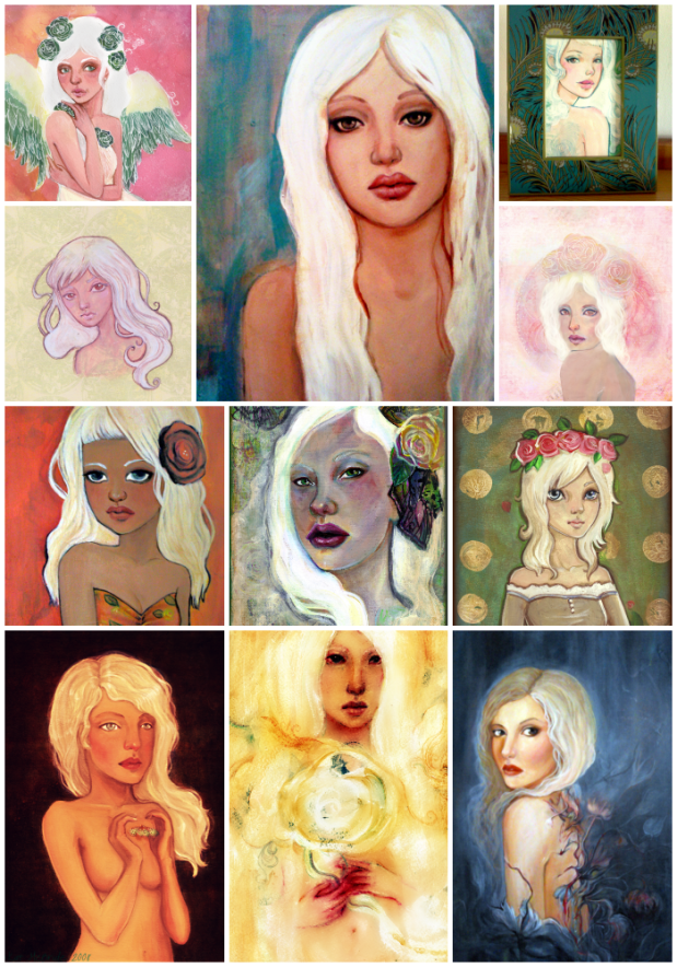a painting collage of girls with white hair by KatCanPaint