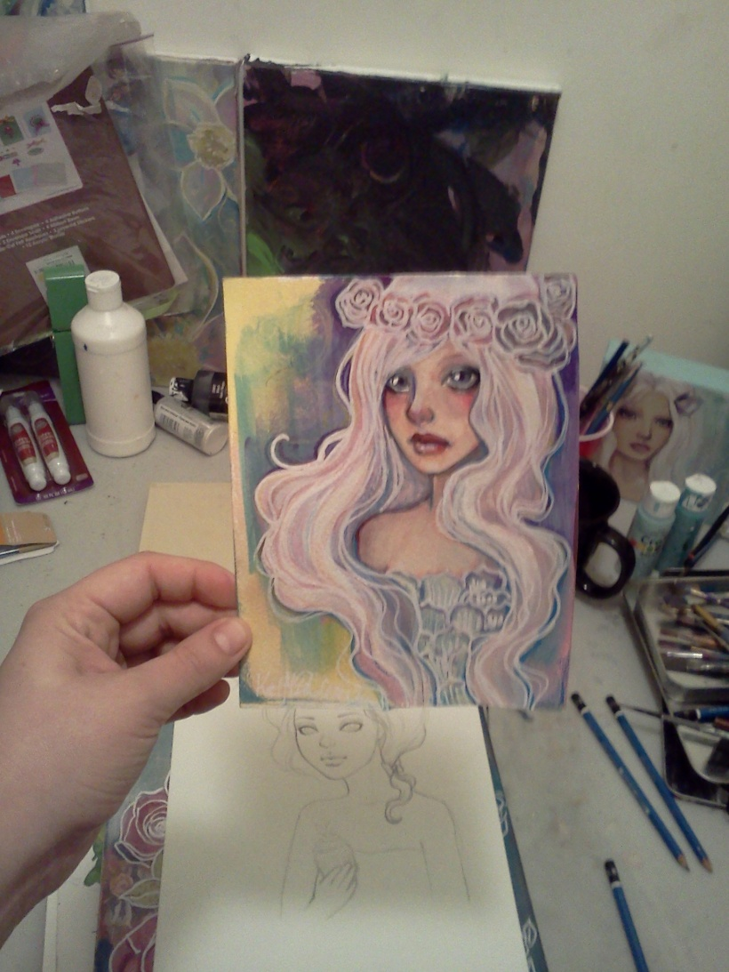 5X7 girl with a flower crown and white hair by katcanpaint