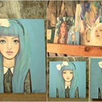 """Blue Alice, after Wonderland : 6"""" x 6"""" Alice Liddell portrait"""