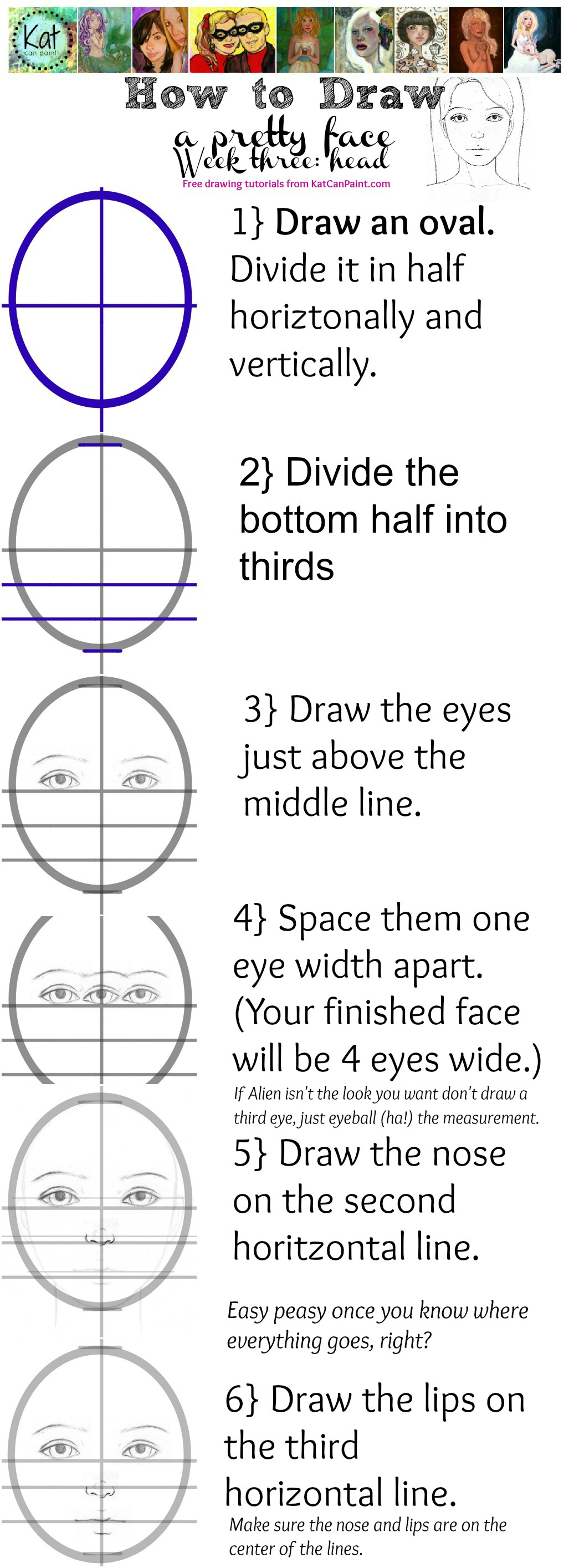 How to Paint a Pretty Face – Kat Can Paint education, free worksheets, worksheets, learning, multiplication, and alphabet worksheets Portrait Drawing Worksheet 1708 x 620