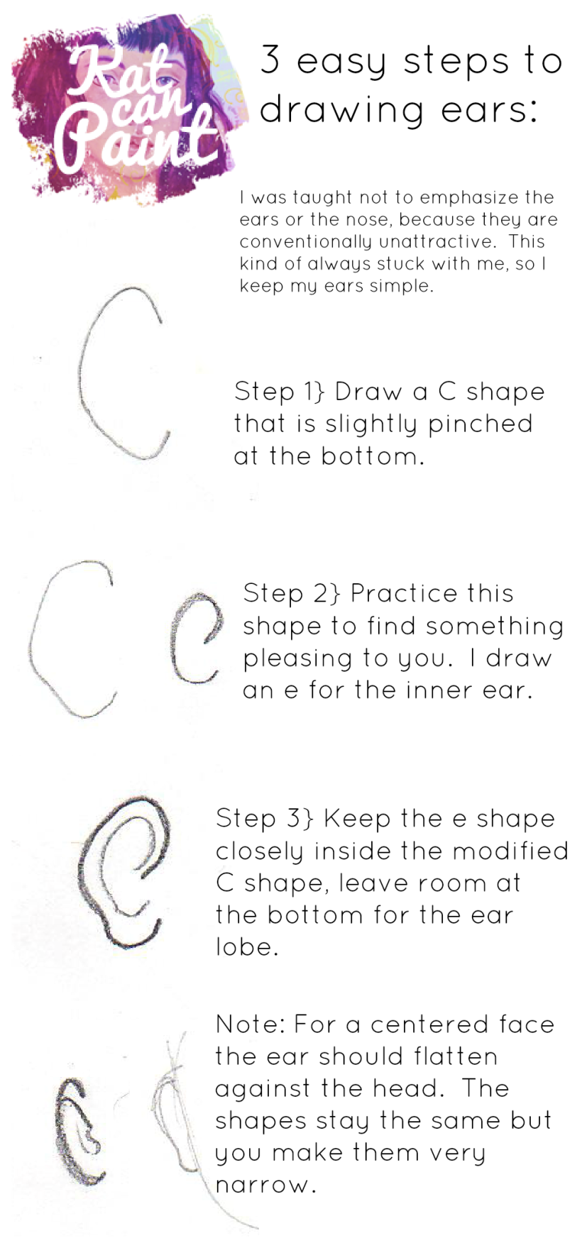 3 simple steps to drawing ears by katcanpaint.com